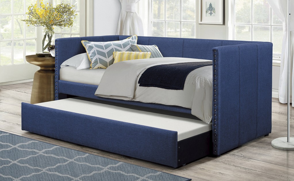 4969BU Tristan blue faux linen fabric nail head trim twin day bed with trundle