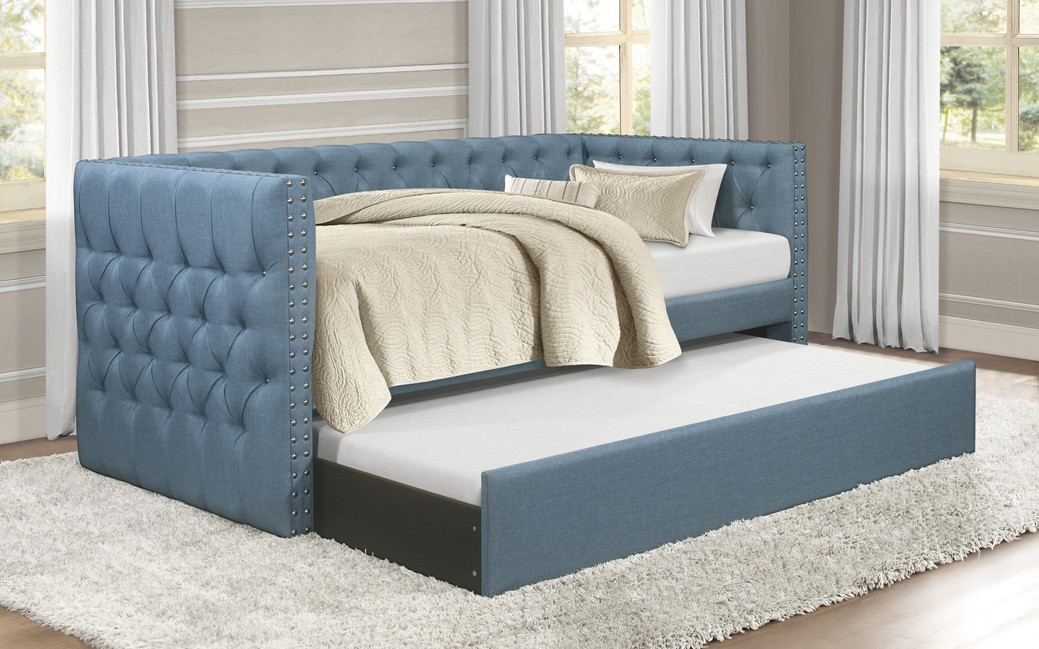 4971BU Tristan blue fabric nail head trim twin day bed with trundle