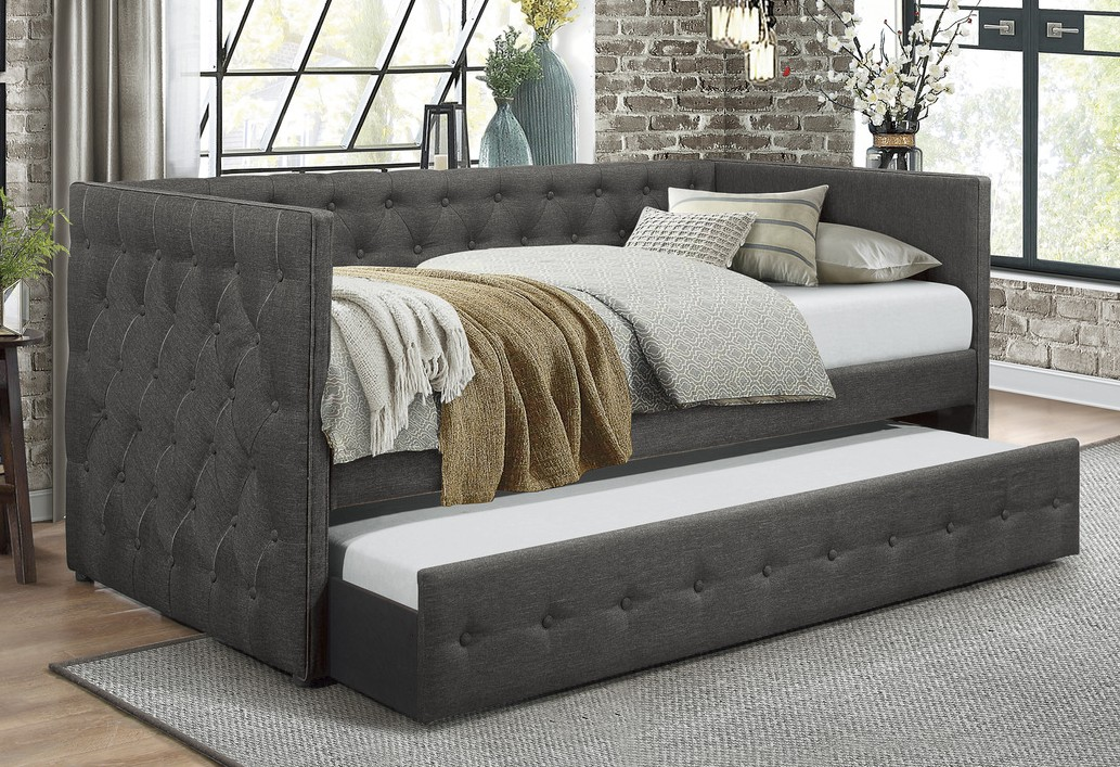 4981 Batavia dark gray button tufted fabric nail head trim twin day bed with trundle