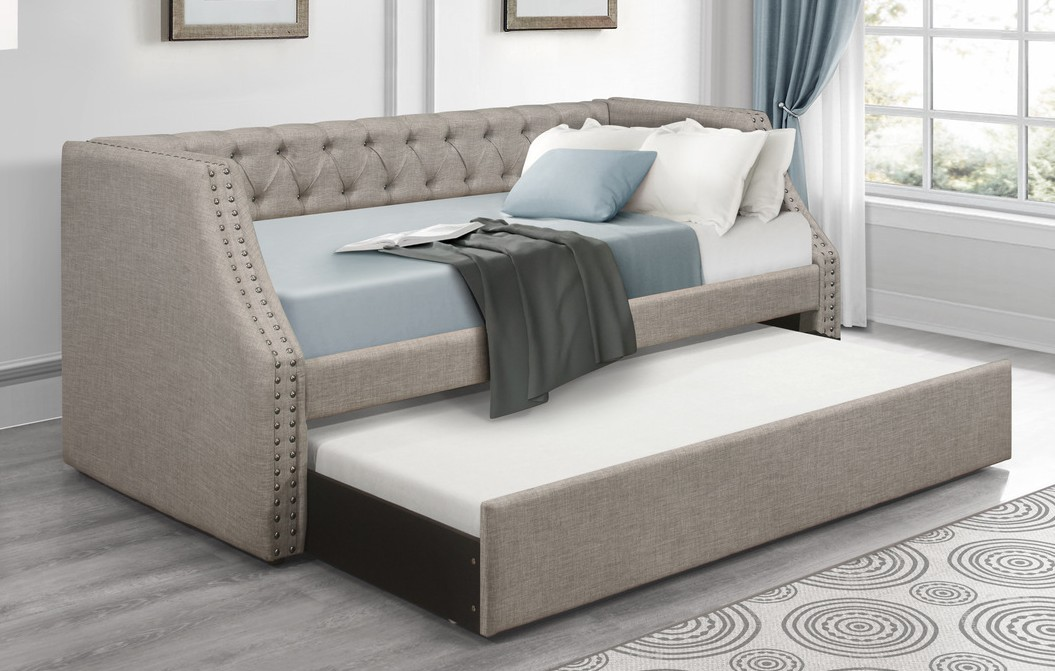 4985BR Corrina brown button tufted fabric nail head trim twin day bed with trundle