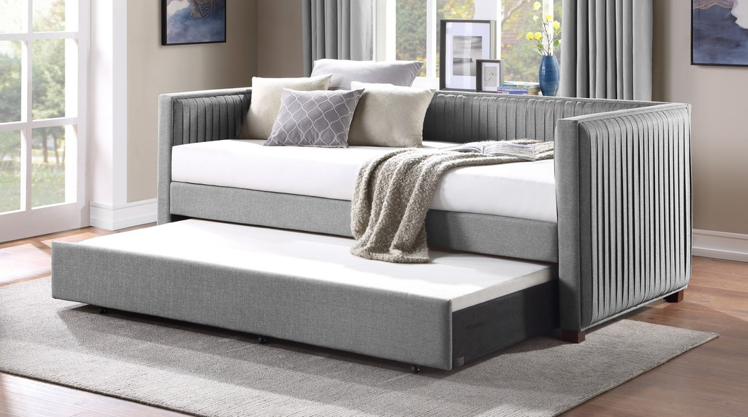 4986 Shelburne pleated gray fabric contemporary twin day bed with trundle
