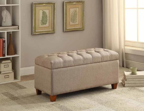 Melissa collection taupe faux linen fabric upholstered tufted top storage bedroom ottoman bench
