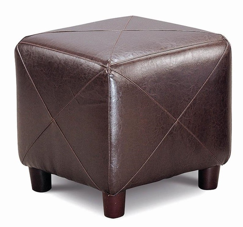 500124 Ebern designs aaliyah dark brown leatherette square cube ottoman footstool