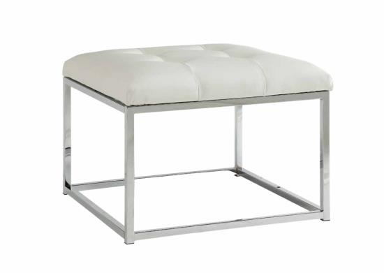 Priscilla collection white faux leather upholstered and chrome metal frame ottoman footstool