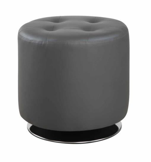 Priscilla collection grey faux leather upholstered round tufted seat ottoman swivel footstool