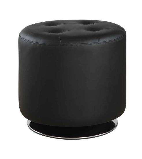 Priscilla collection black faux leather upholstered round tufted seat ottoman swivel footstool