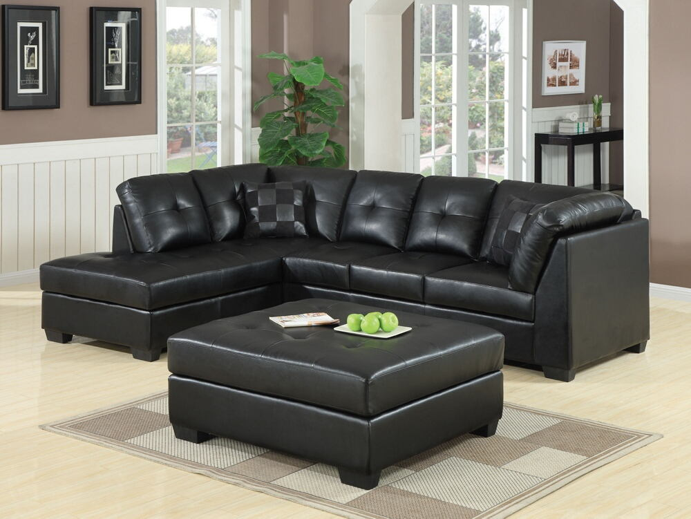 2 pc darie collection black bonded leather upholstered sectional sofa set with tufted backs