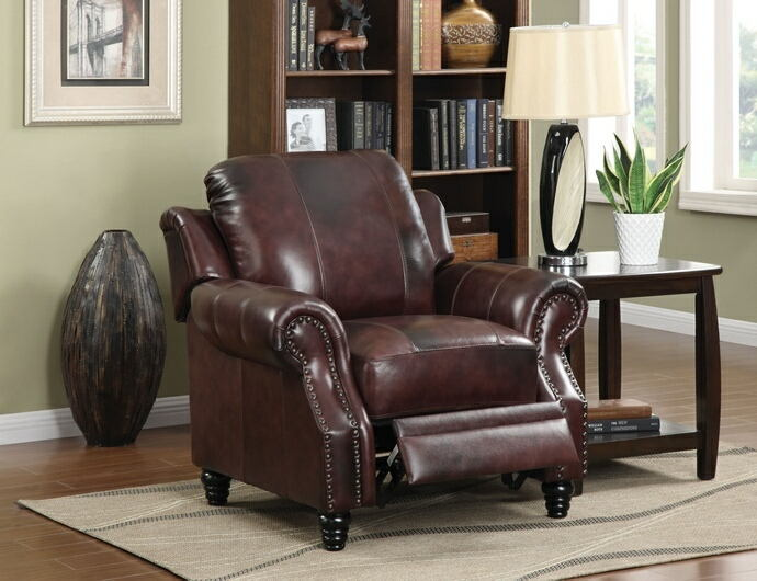Burgundy 100% leather upholstered recliner chair with nail head trim