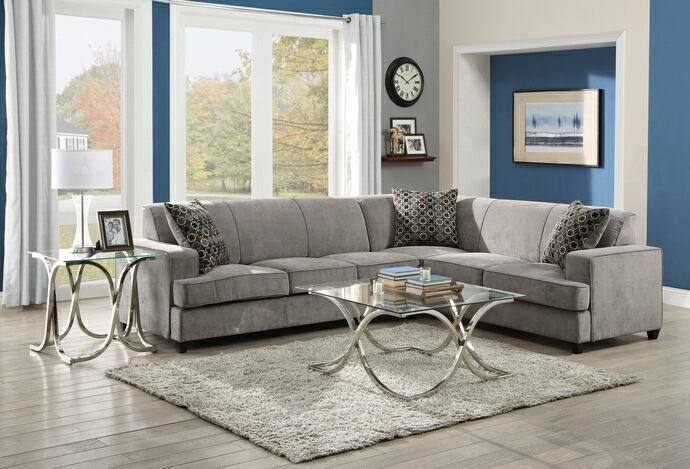 500727 3 pc Kelsee tess grey microvelvet fabric sectional sofa with pull  out sleeper bed