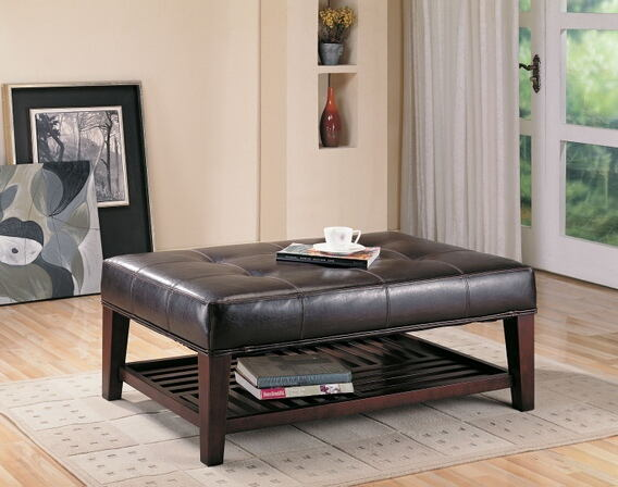 Brown leather like vinyl tufted top ottoman foot stool with lower shelf