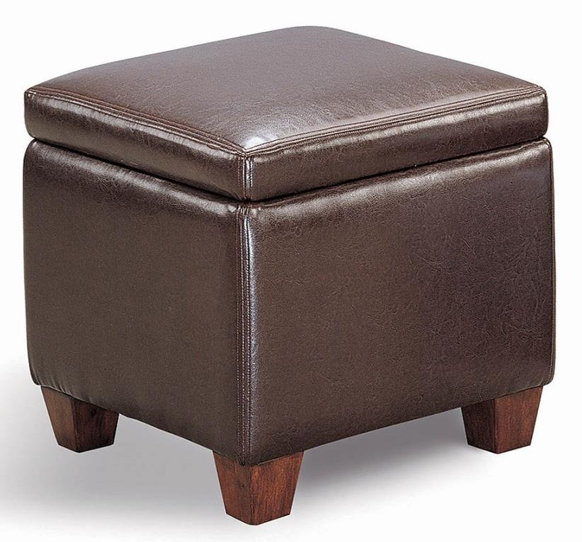 500903 Winston porter musser dark brown leatherette square cube storage ottoman footstool