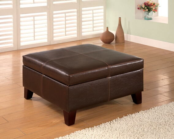 Dark brown durable leather like vinyl square storage ottoman with wood legs