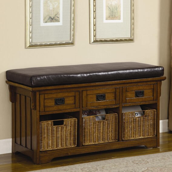 "501061 42"" medium width mission style oak finish wood bedroom entry bench with storage basket and drawers"