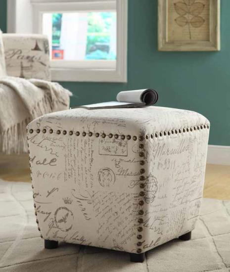 Off white and grey french script fabric upholstered cube ottoman with nail head trim