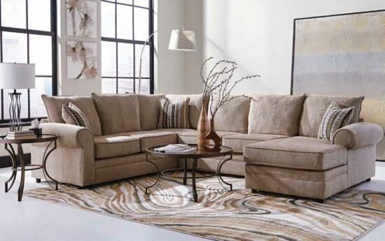 3 pc fairhaven collection herringbone chenille fabric upholstered sectional sofa with rounded arms