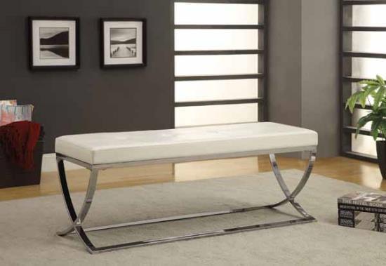 White leather like vinyl upholstered rectangular ottoman with chrome finish metal frame