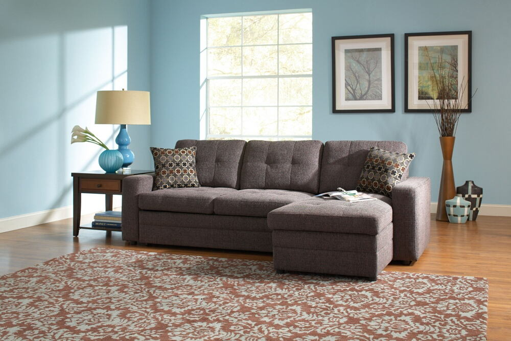2 pc gus collection charcoal black grey chenille fabric upholstered sectional sofa with convertible bed