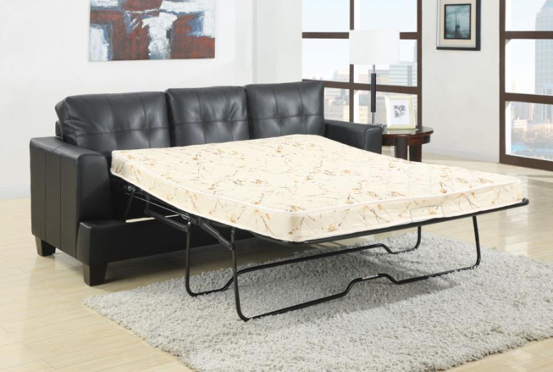 501680 Latitude run redner samuel black bonded leather sofa with pull out sleeper bed