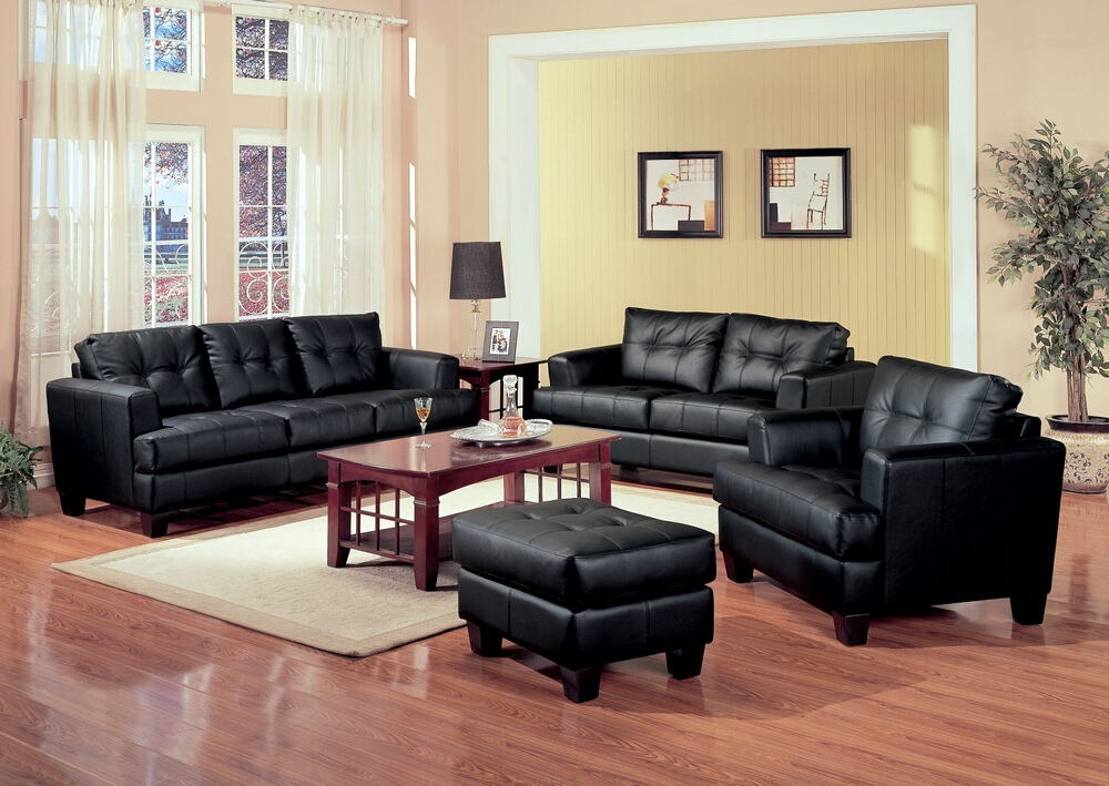 2 pc samuel collection black bonded leather sofa and love seat set with tufted seat and backs