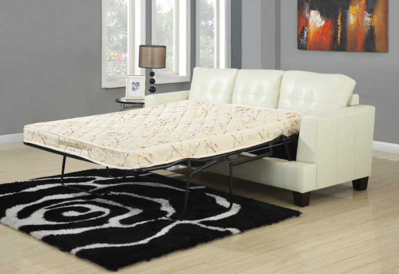 501690 Latitude run redner samuel cream bonded leather sofa with pull out sleeper bed