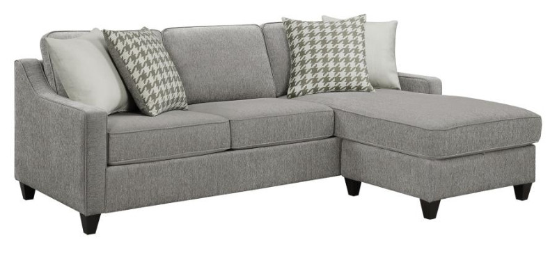 502717 2 pc Winston porter tishie charcoal colored fabric reversible chaise sectional sofa
