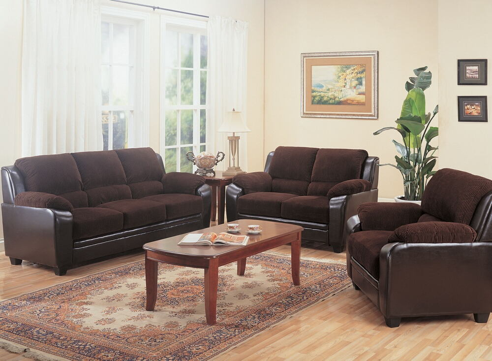 3 pc monika collection 2 tone chocolate corduroy and dark brown leather like vinyl upholstered sofa, love seat and chair