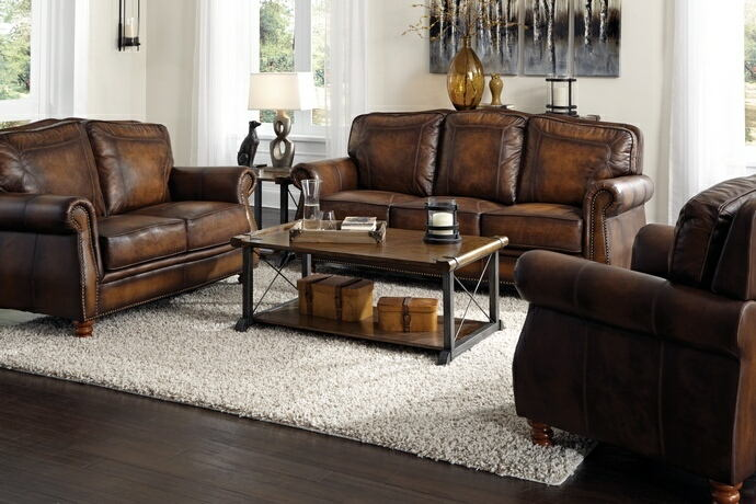 2 pc montbrook collection hand rubbed brown finish 100% leather upholstered sofa and love seat set with nail head trim
