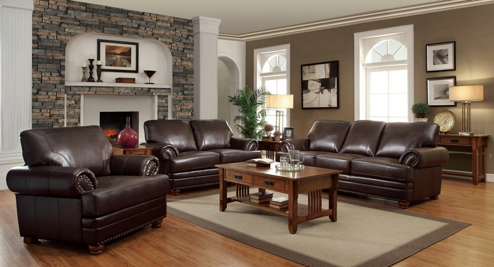 3 pc. colton collection traditional style brown bonded leather match with decorative nailhead trim sofa set