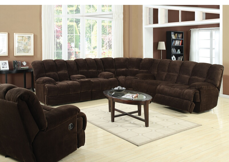 3 pc ahearn collection chocolate champion super soft microfiber fabric upholstered motion sectional sofa with  recliners