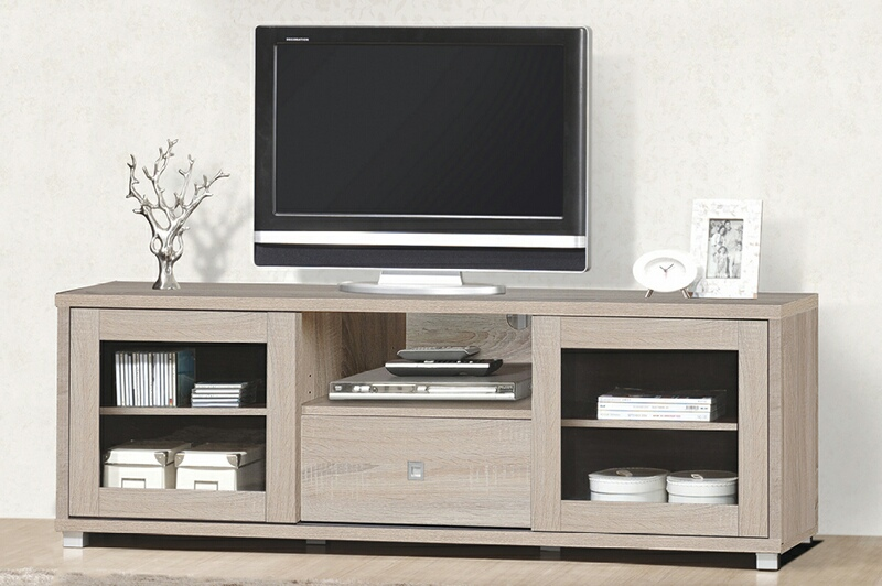 Asia Direct  5052-NA Natural finish wood wide TV stand with glass cabinet doors