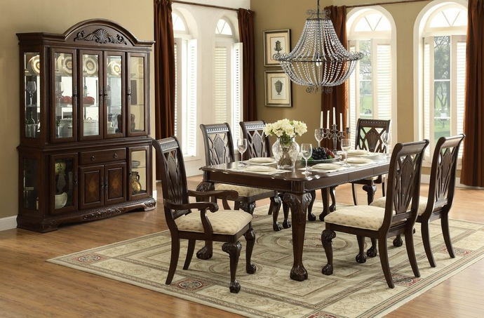 7 pc norwich collection warm charry finish wood dining table set with padded seats and carved backs