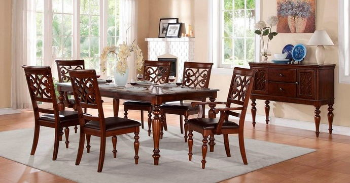 7 pc creswell collection rich cherry finish wood dining table set with padded seats and turned legs
