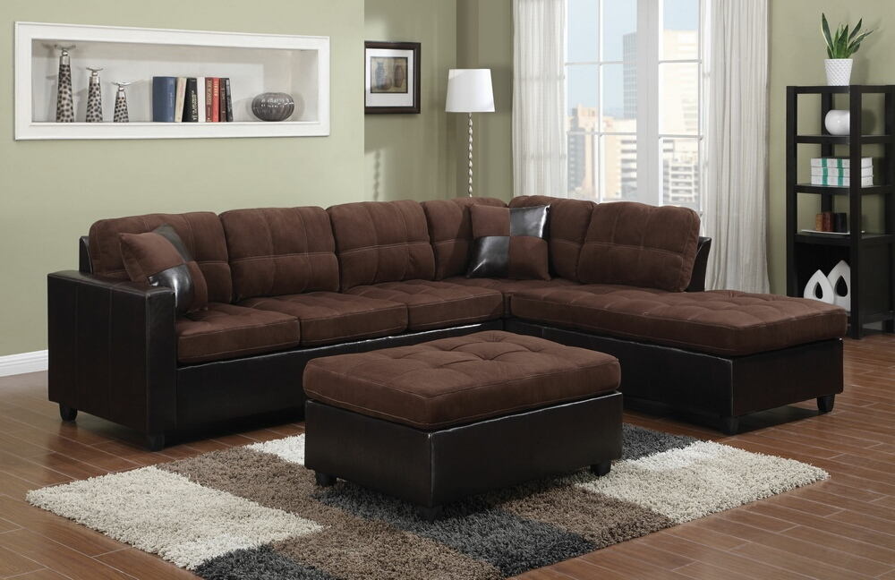 2 pc mallory collection 2 tone chocolate microfiber fabric and leather like vinyl upholstered sectional sofa with reversible chaise
