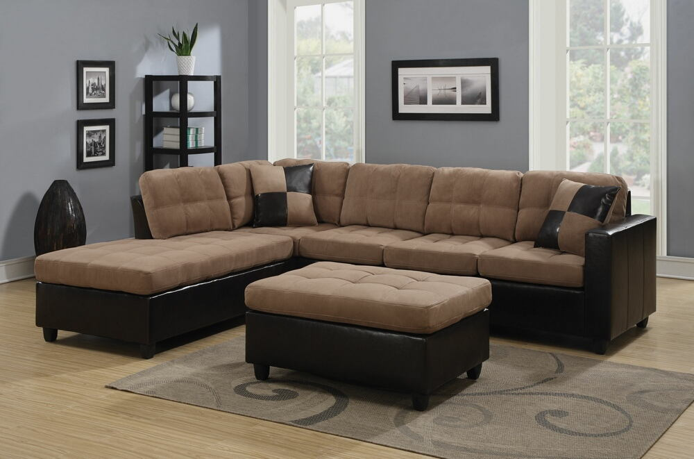 505675 2 pc mallory 2 tone tan microfiber fabric and leather like vinyl sectional sofa with reversible chaise