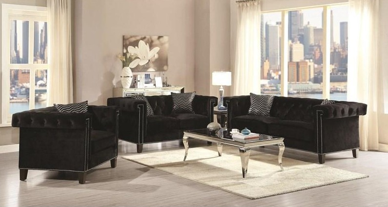 505817 2 pc Everly quinn reinaldo reventlow black velvet fabric button tufted back sofa and love seat set