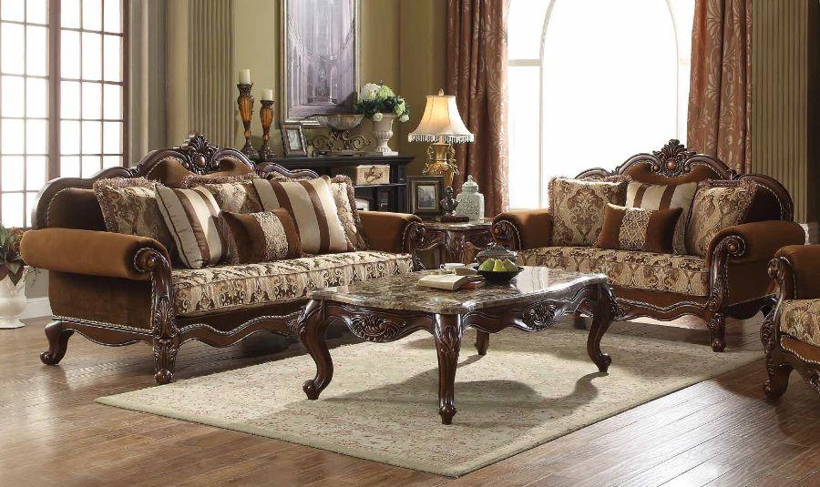 Acme 50655-56 2 pc Astoria grand trimm jardena cherry oak finish wood fabric sofa and love seat set