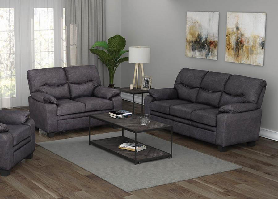 506564-65 2 pc Winston porter mulford meagan charcoal fabric sofa and love seat set
