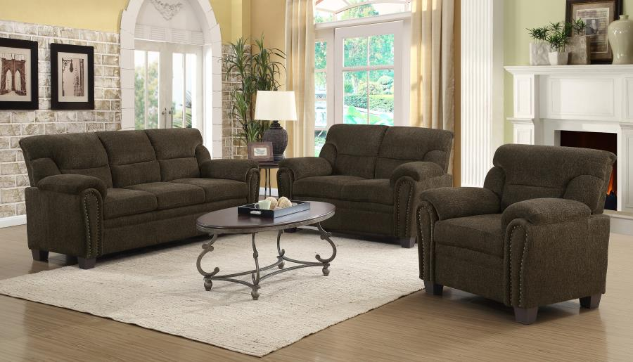 506571-72 2 pc Moorhead red barrell studio clementine brown chenille fabric sofa and love seat set