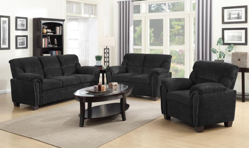 506574-75 2 pc Moorhead red barrell studio cementine graphite chenille fabric sofa and love seat set