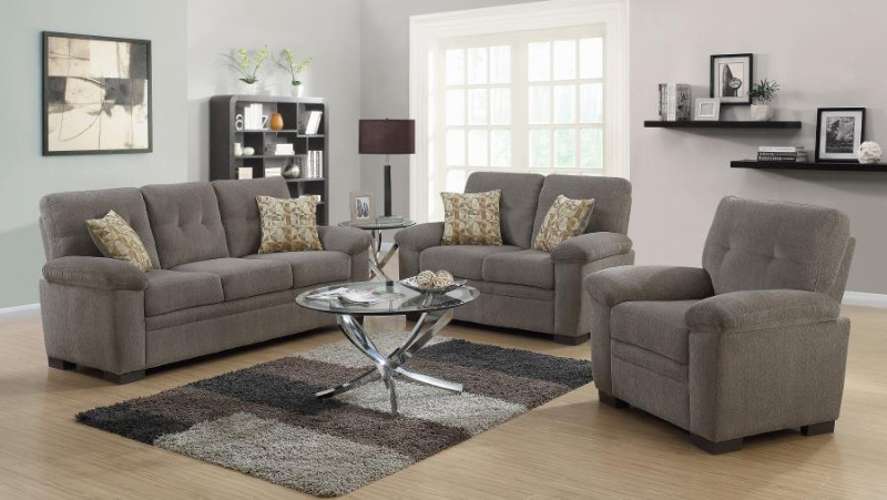 506581-82 2 pc Latitude run robbe fairbairn oat chenille fabric sofa and love seat set