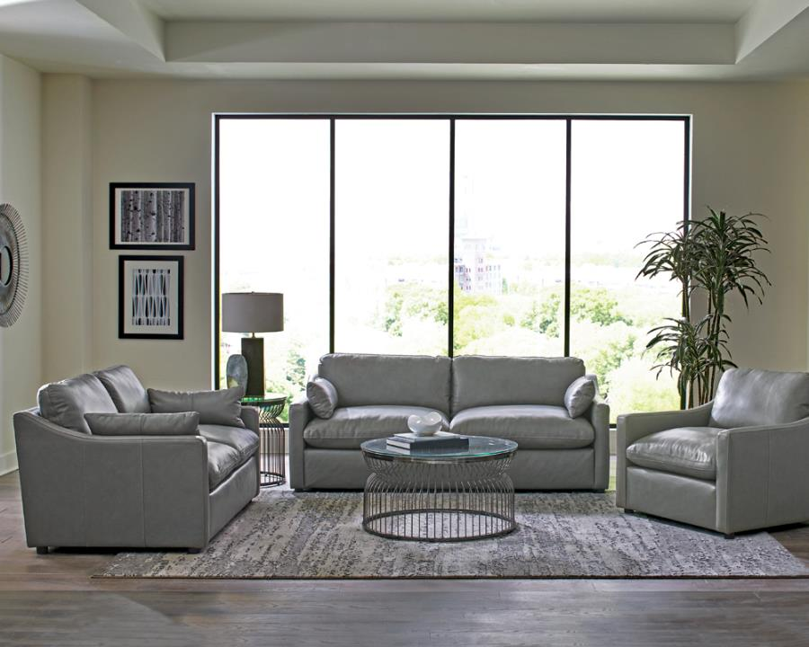 506771-72 2 pc Darby home co grayson grey top grain leather match sofa and love seat set