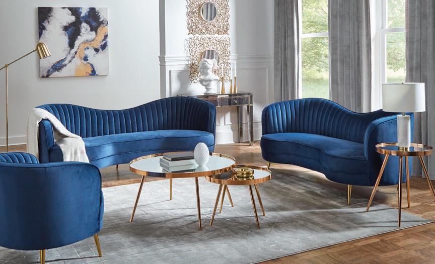 506861 2 pc Strick & Bolton la rose sophia blue velvet fabric sofa and love seat set curved backs