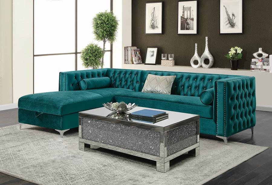 508380 2 pc Everly quinn holsworthy bellaire teal velvet fabric sectional sofa set with tufted backs storage chaise
