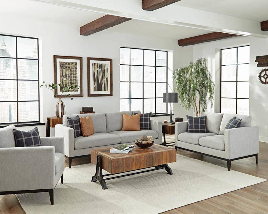 508681 2 pc Gracie oaks tyndall apperson light grey chenille fabric sofa and love seat set