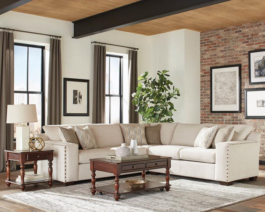 508610 2 pc Gracie oaks steinke oatmeal chenille fabric nail head trim sectional sofa