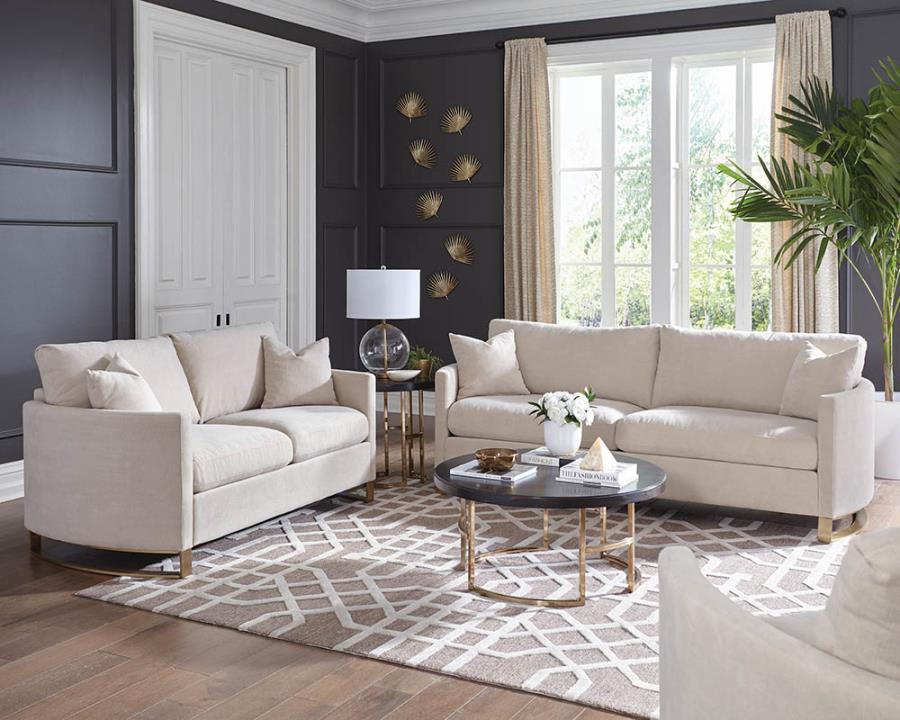 508821 2 pc Wildon home corliss beige chenille fabric sofa and love seat set