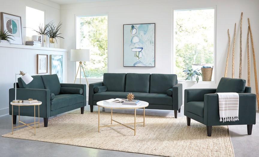 509071-72 2 pc Gracie oaks tyndall Gulfdale dark teal velvet sofa and love seat set