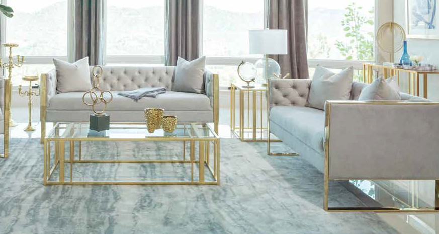 509111 2 pc Strick & Bolton la rose eastbrook grey velvet fabric button tufted back sofa and love seat set
