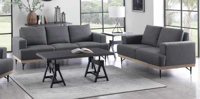 509187 2 pc Bronx ivy avianna kester charcoal faux linen fabric sofa and love seat set