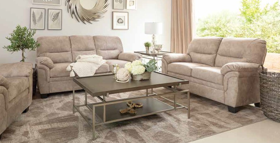 509251 2 pc Bronx ivy avianna holman beige velvet fabric sofa and love seat set
